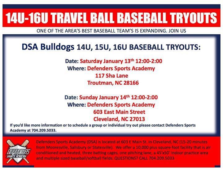 DSA Bulldog Tryouts at 117 Sha Ln, Troutman, NC 28166-8528, United