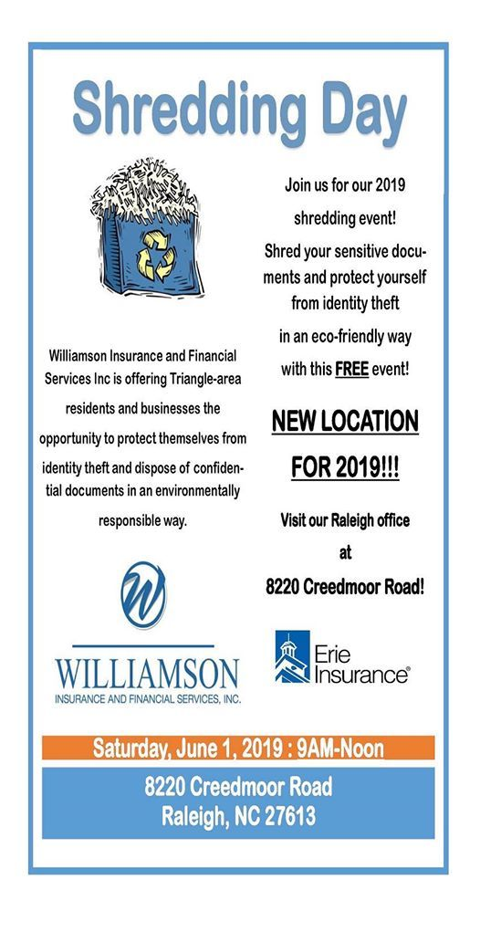 Shred-It Day at Williamson & Gayle Insurance Inc (Raleigh
