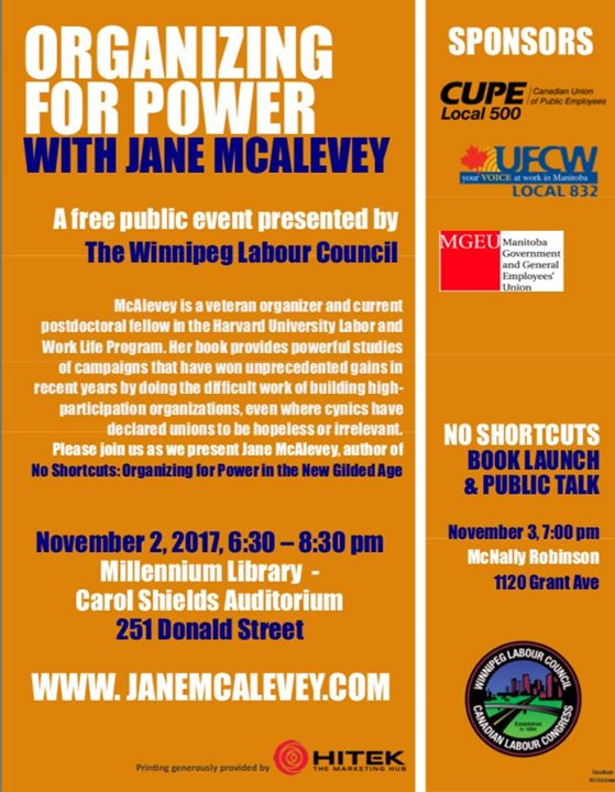 Organizing For Power - Manitoba Tour with Jane McAlevey