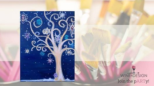 Funky Winter Tree Byob Painting Class Greenville