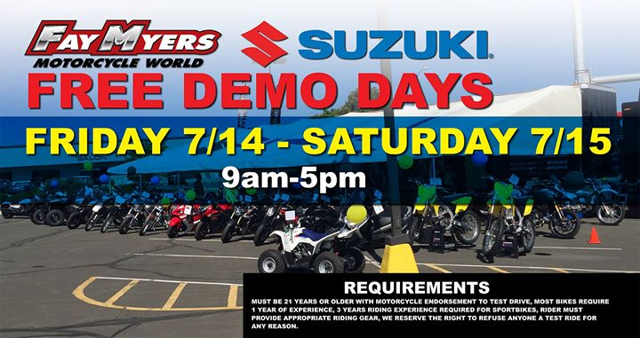 free suzuki demo days! at fay myers motorcycle world, greenwood