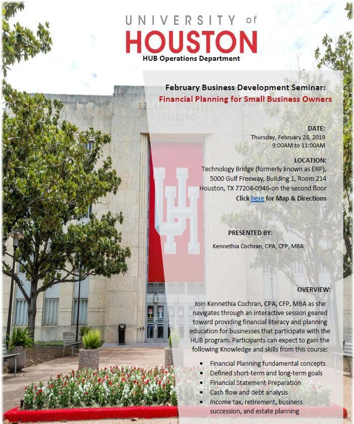 UH HUB Ops. Business Seminar Financial Planning for Small Business Owners