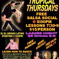 Thurs 211  FREE Salsa Social  9  RamadaYonkers  LADIES NIGHT  CLASSES
