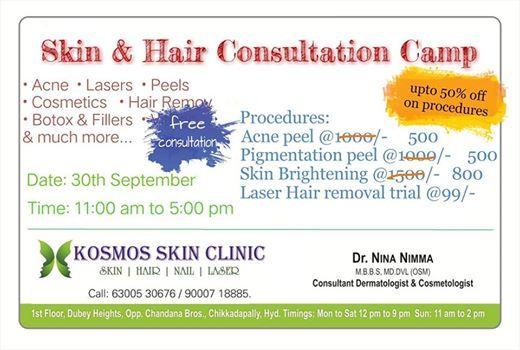 Skin & Hair Consultation Camp at Kosmos Skin Clinic, Hyderabad