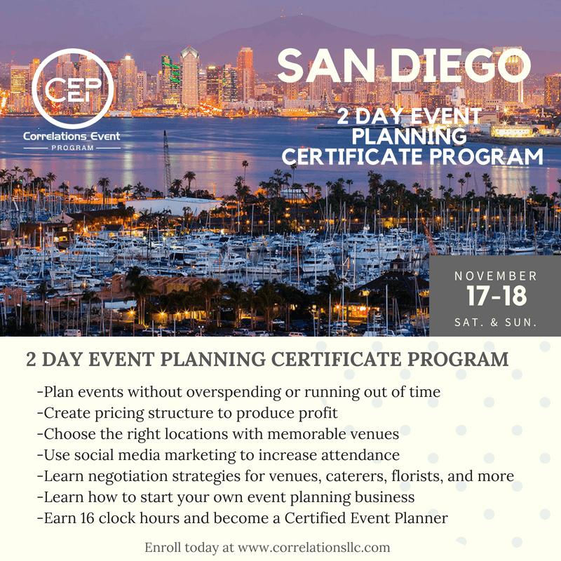 2 Day San Diego Event Planning Certificate Program November 17-18 ...