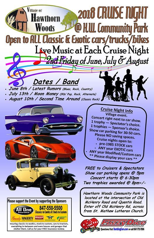 Hawthorn Woods Exotic Classic Cruise Night At Fuzzy Dice Car Shows - Car show event insurance