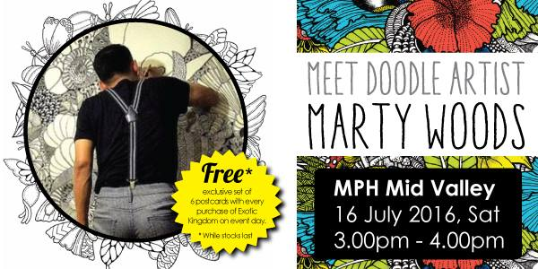 Meet Doodle Artist Marty Woods At Mph Bookstore Mid Valley Kuala