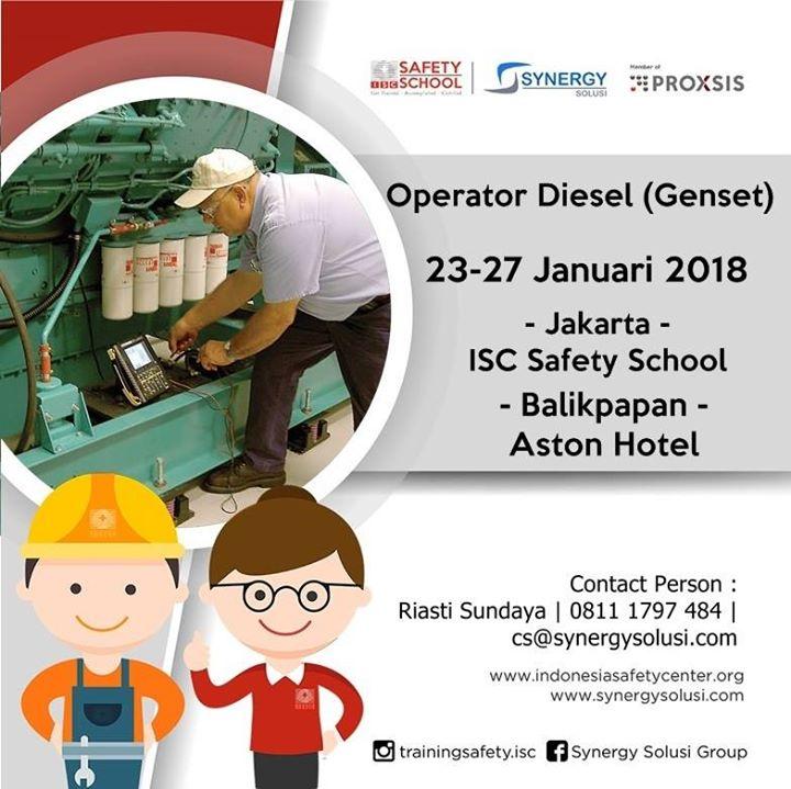Training Operator Diesel (Genset) Tanggal 23-27 Januari 2018