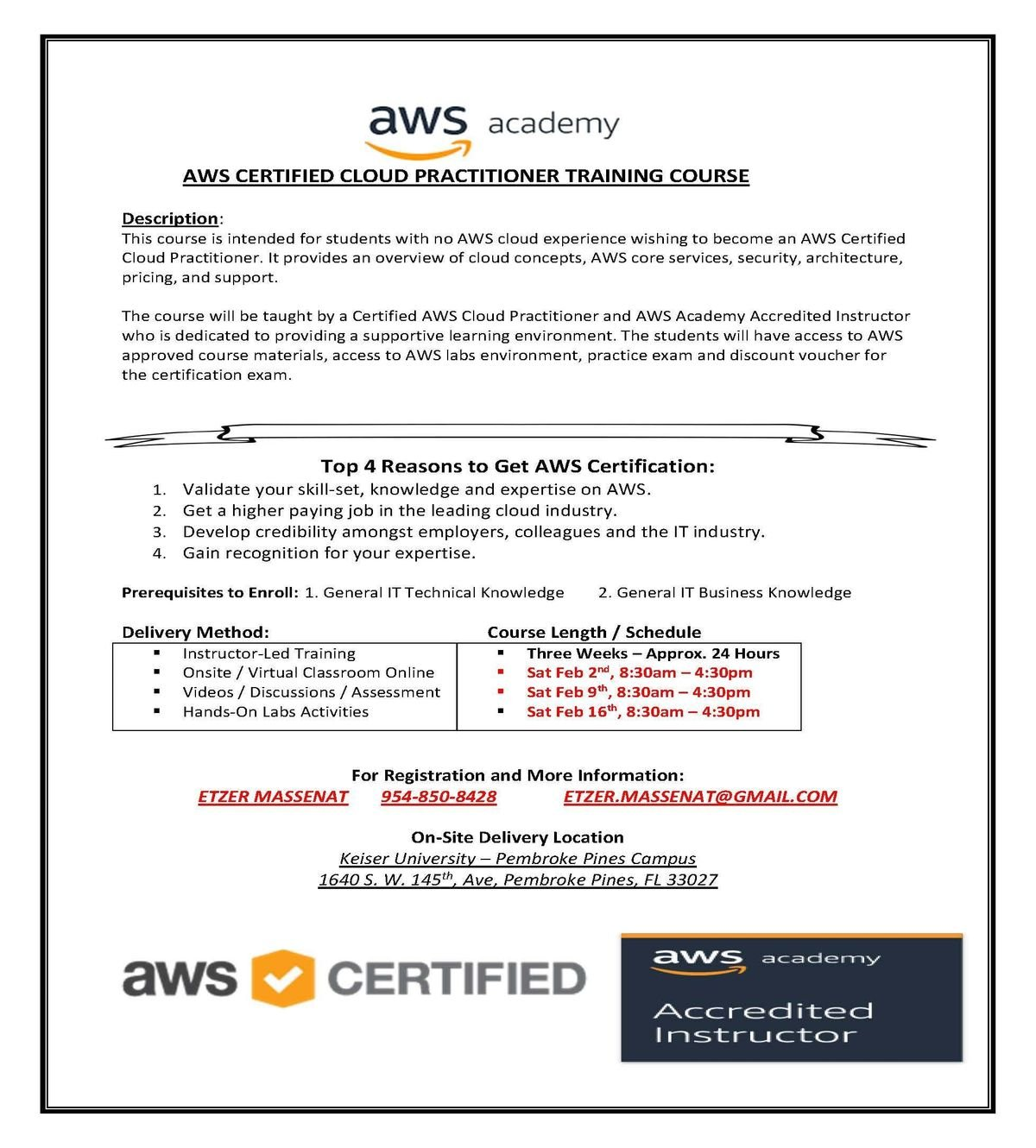 AWS Certified Cloud Practitioner Training Course at Keiser