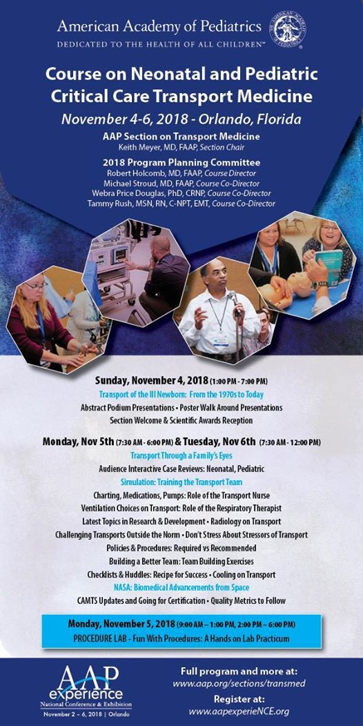 2018 AAP SOTM, Course On Neonatal & Pediatric Transport at