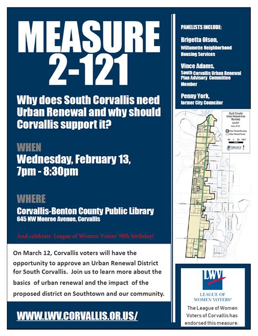 Measure 2 121 Why Does South Corvallis Need Urban Renewal At