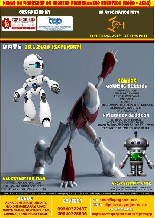 Hands on Workshop on Arduino Programming Robotics (rob0 - 2019)