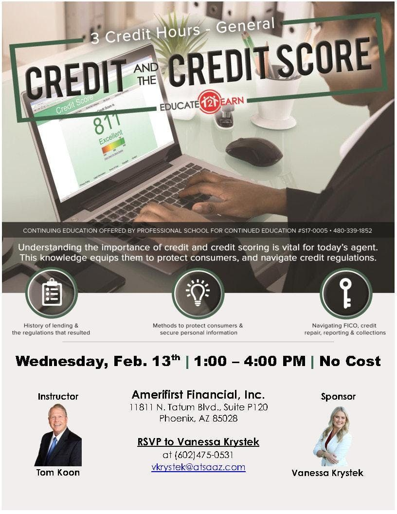 Credit And The Credit Score 3CE General at Amerifirst