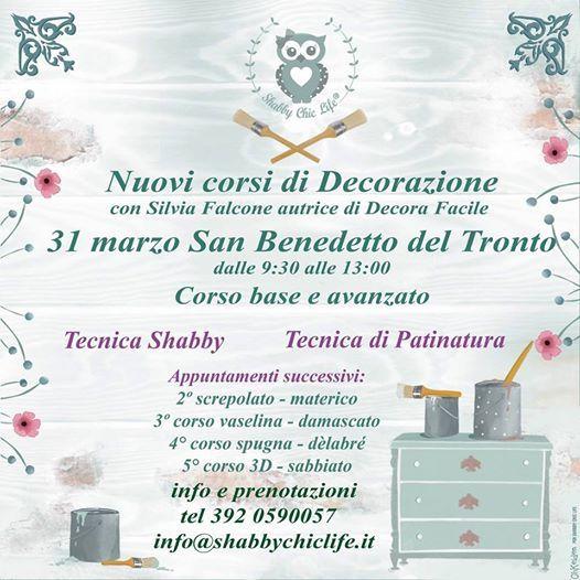 Tecnica Del Shabby Chic.Corso Di Decorazione Shabby Chic At Via Moncalieri 63074