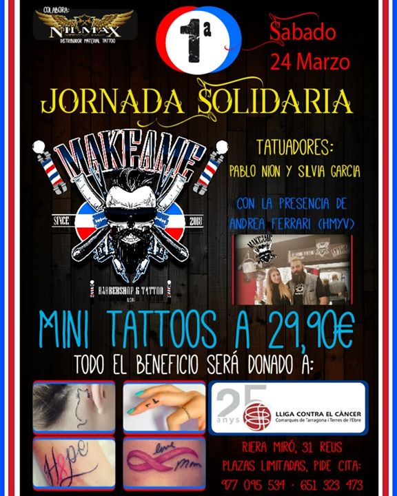 1a Jornada Solidaria De Tatuajes Makeame Contra Elcancer At Makeame