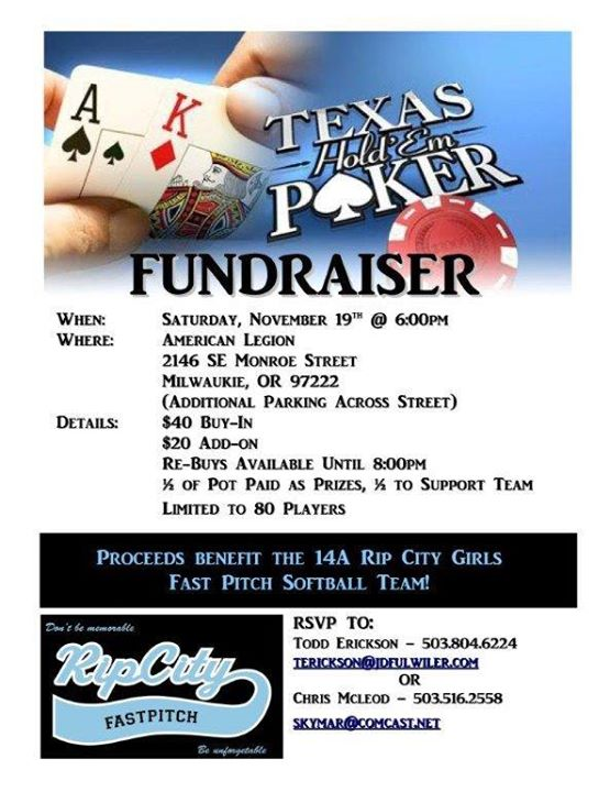Rip City Fundraiser: Texas Hold em Poker Tournament at