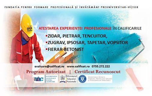 Zidar Zugrav Fierar - Atestarea experientei profesionale