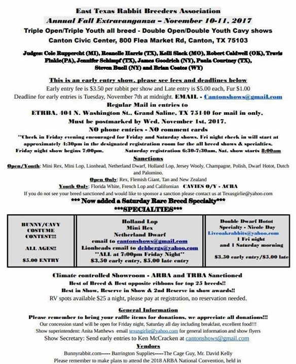 east Texas Rabbit Breeders Association Annual Fall