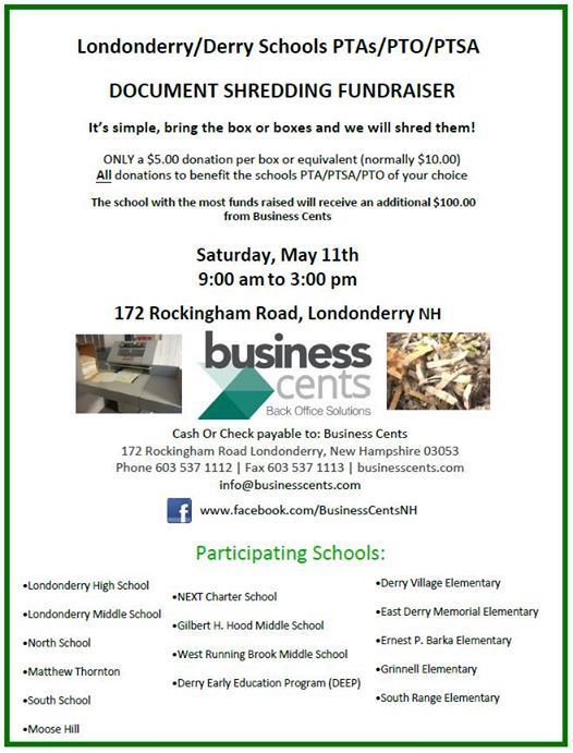 6th Annual Shredding Fundraiser at Business Cents, New Hampshire