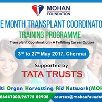 Transplant Coordinators Training Programme 3rd to 27th May 2017
