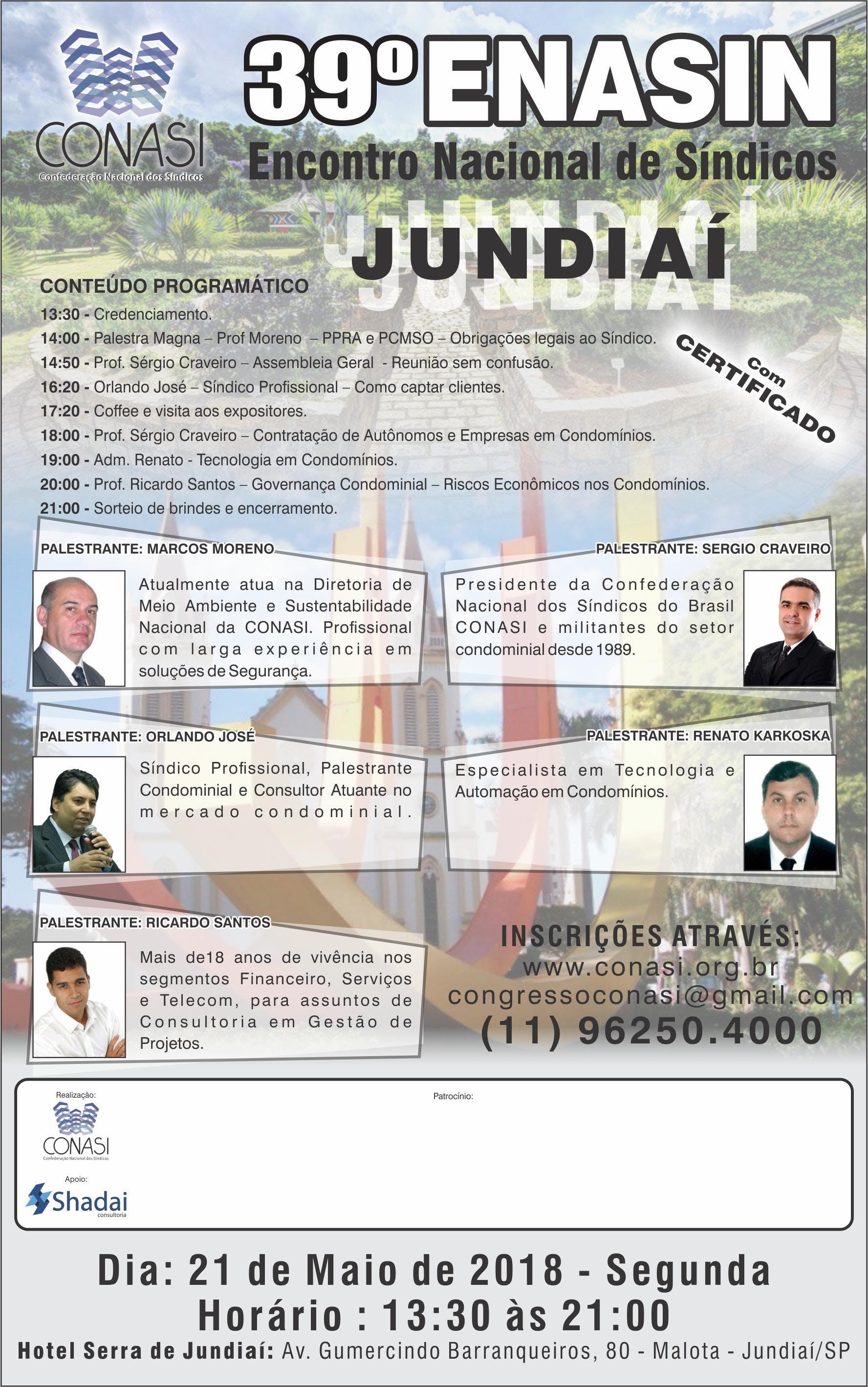 39 - ENASIN da CONASI - Jundia - SP - Encontro Nacional de Sndicos