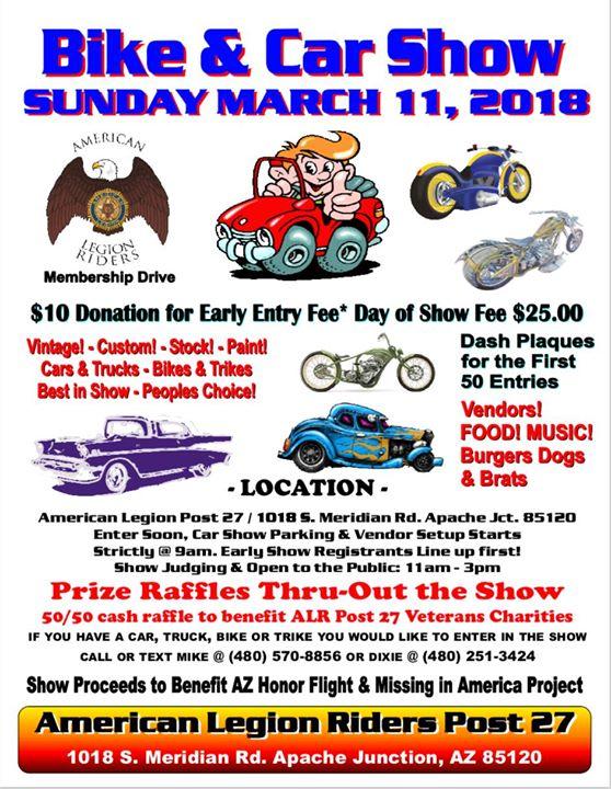 Annual Car Bike Show ALR Apache Junction At American Legion - Apache junction car show
