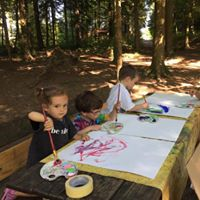 Open painting class in the forest