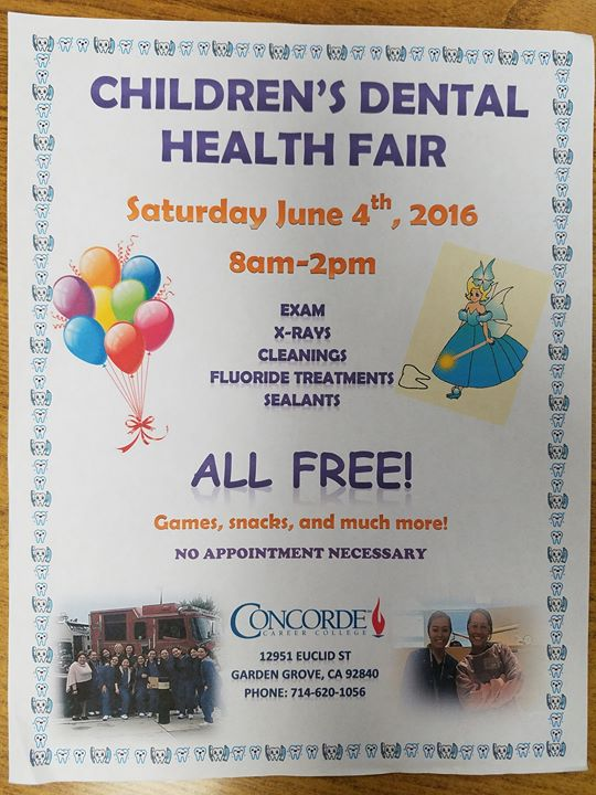 Childrens Dental Health Fair at Concorde Career College Garden