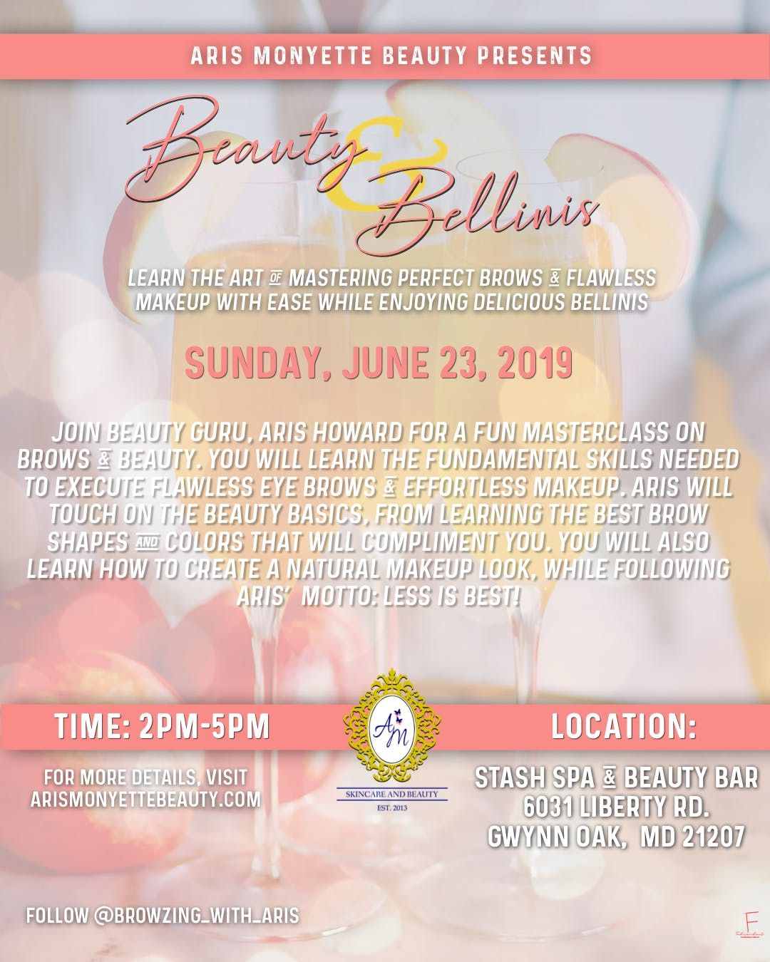 Beauty, Brows & Bellini's at Stash Spa and Beauty Bar, Baltimore