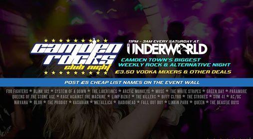 Camden Rocks Club  Cheap List  at The Underworld Camden