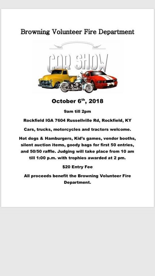 Browning Fire Department St Annual Car Show At Shell - Bowling green ky car show 2018