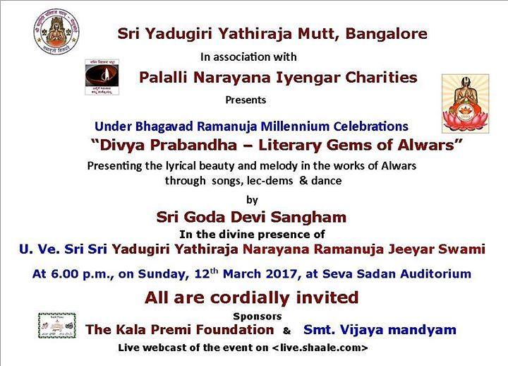 Divya Prabandha - Literary Gems of Alwars at Seva Sadan