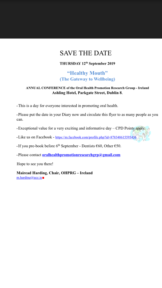 Healthy Mouth Oral Health Promotion Research Group Conference