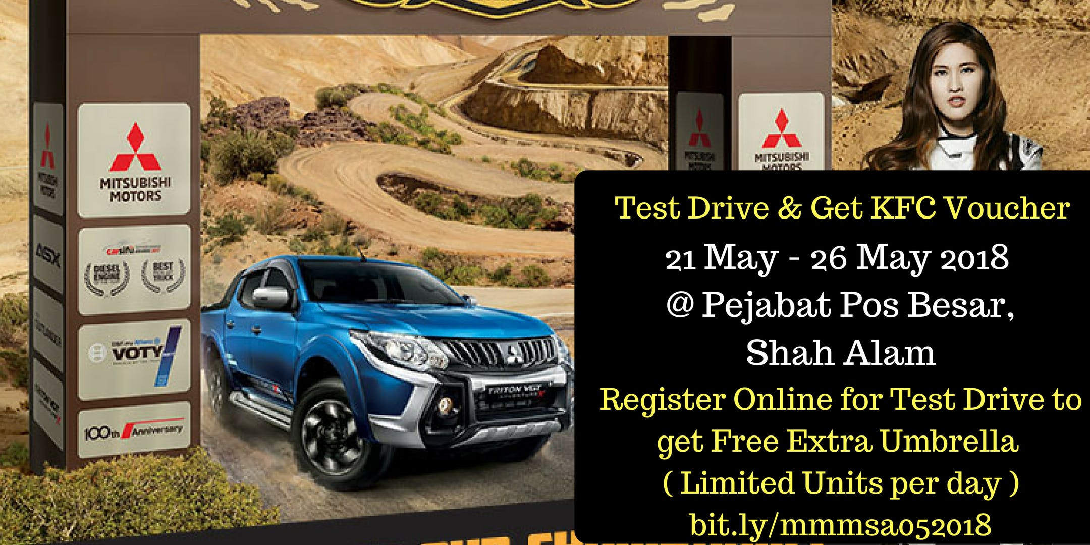 Mitsubishi Motors Roadshow Test Drive Get Free Kfc Voucher 21 26 May 2018