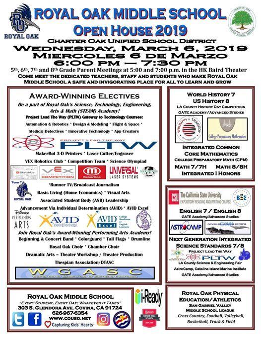 Royal Oak Middle School Open House March 6, 2019 6 - 7:30 pm
