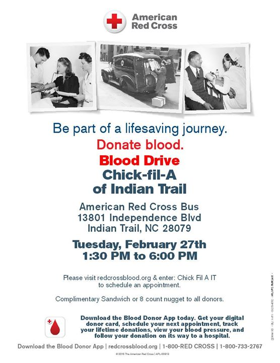 Blood Drive At Chick Fil A Indian Trail Indian Trail
