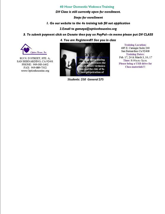 40 Hour Domestic Violence Training at 685 E Carnegie Dr, San ...