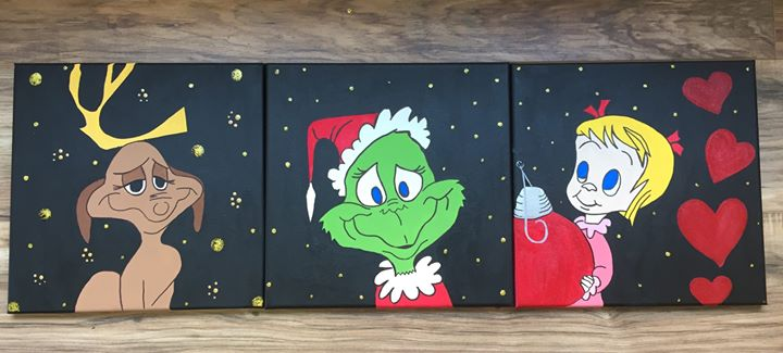 Cute Kids Calendar : Grinch family canvas painting at paint a treasure studio