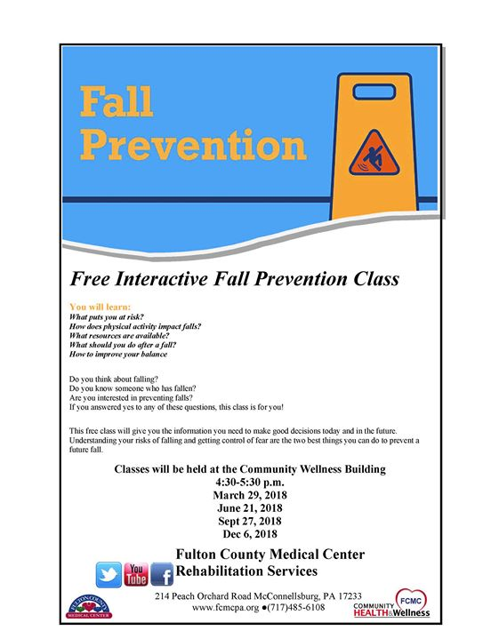 Free Interactive Fall Prevention Class at 294 Lincoln Way W