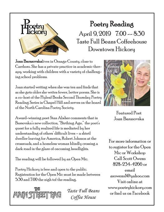 Poetry Hickory April 2019 at Taste Full Beans Coffeehouse