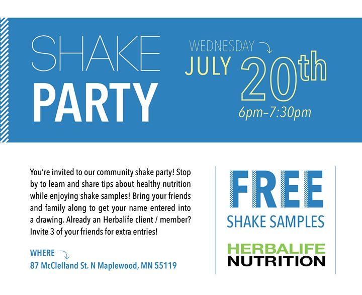 Herbalife Shake party at 87 McClelland St N St Paul MN 551194730