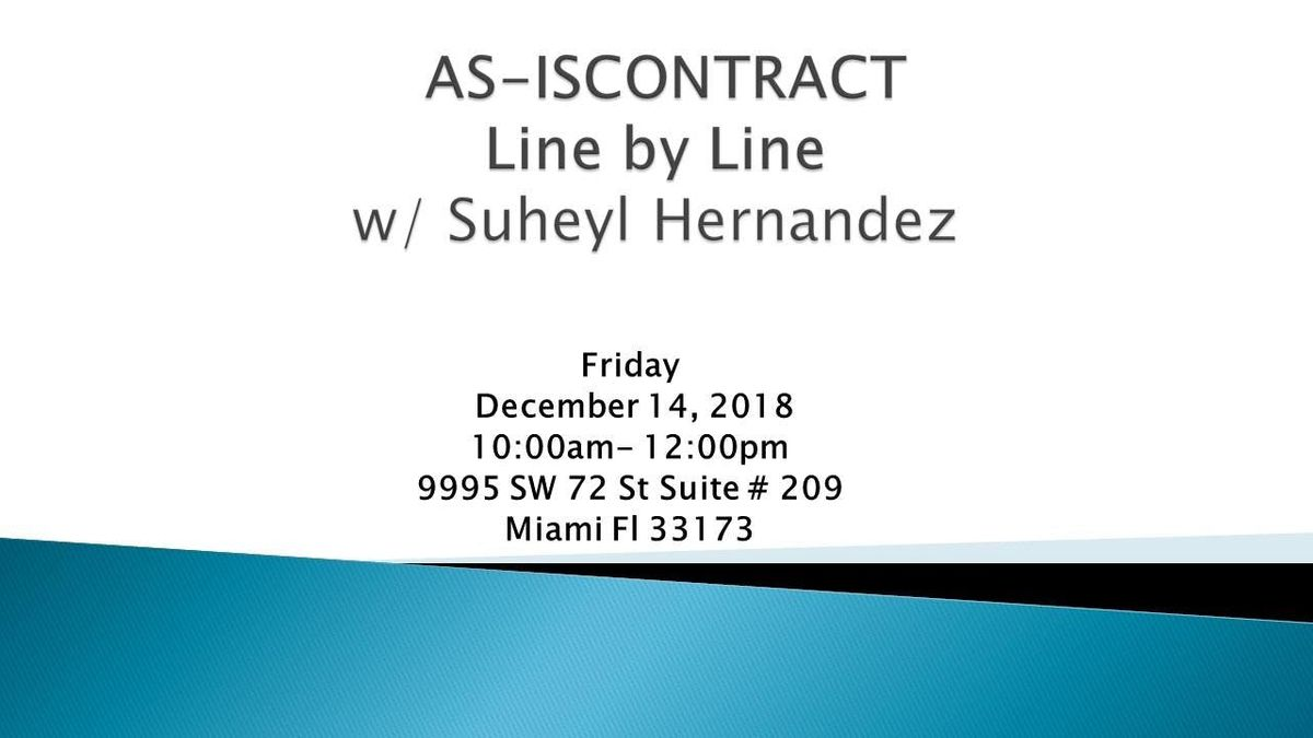 RWSF KENDALL-AS-IS CONTRACT Line by Line w Suheyl Hernandez