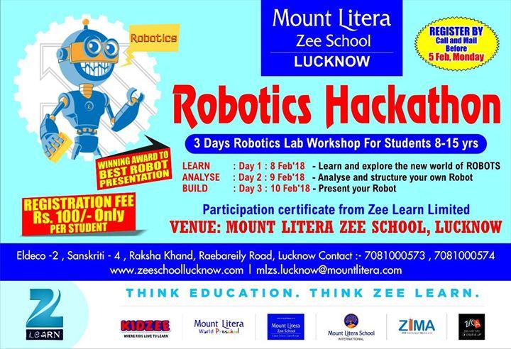 Mount Litera Zee School Robotics Hackathon 2018 Lucknow