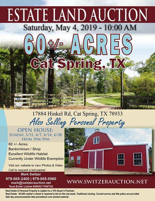 Estate Land Auction - Cat Spring at 17884 Hinkel Rd, Cat Spring, TX