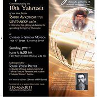 10TH Yahrtzeit of Rabbi Avrohom Levitansky ob&quotm - Farbrengen