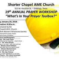 Shorter Chapel AME Church 19th Annual Prayer Workshop