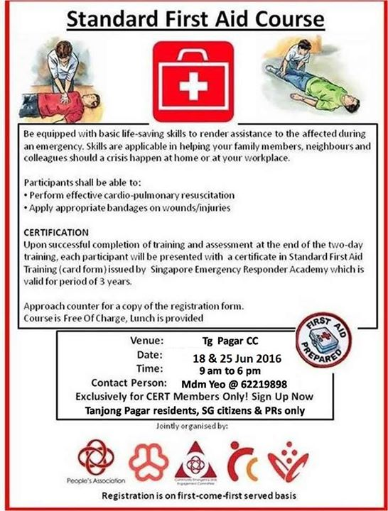 standard first aid + certified cpr course at tanjong pagar-tiong