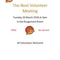 Volunteer Meeting 20 March 2018