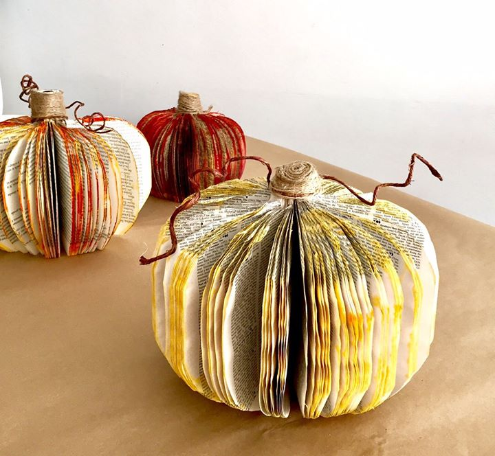Crafting & Cocktails Book Page Pumpkins