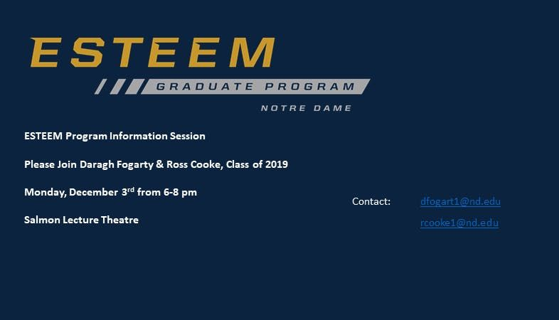 Notre Dame ESTEEM Graduate Program talk with TES